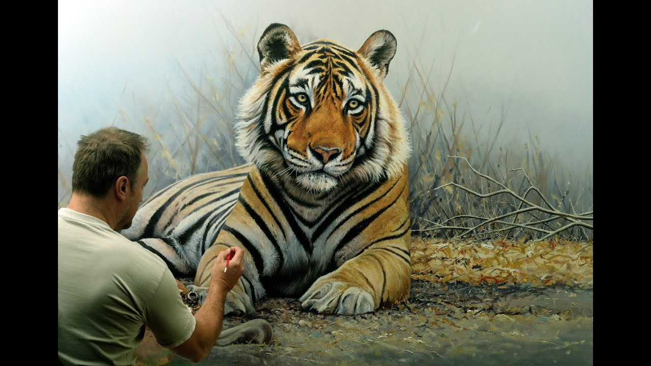 'Prince of India' life-size tiger oil painting - YouTube