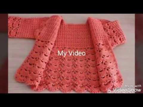 nuevo estilo diseño elegante venta minorista Abrigo para niñas tejido a crochet - paso a paso
