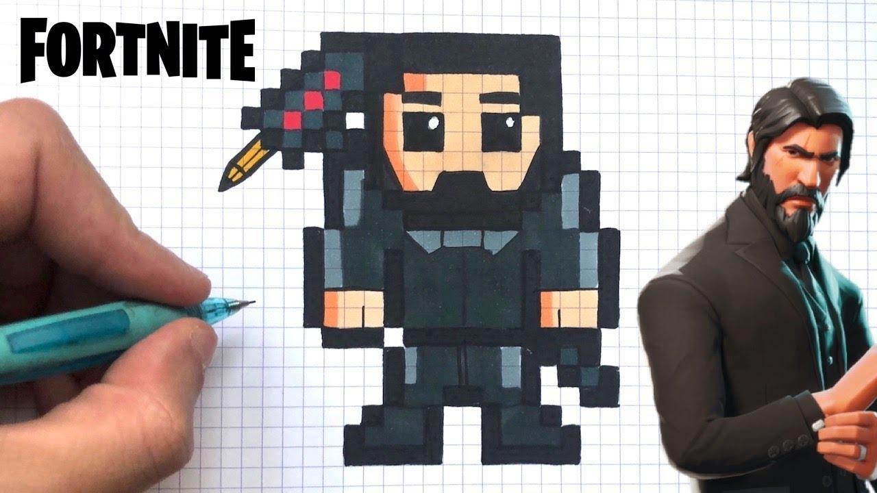 Como Dibujar John Wick Skin Fortnite Pixel Art