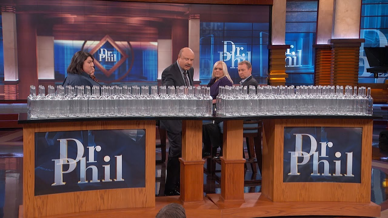 Dr. Phil Visually Demonstrates To Guest What A Year Of Her Estimated Alcohol Consumption Looks Li…