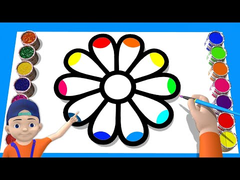 Akn Kids with Drawing and Coloring Pages ( 3D )Flower  Drawing and Coloring