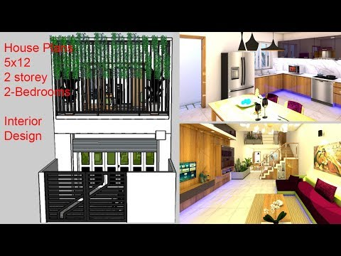House Plans 5×12 With 2 Bedrooms Full Plans | Interior Design | Two Storey House Design