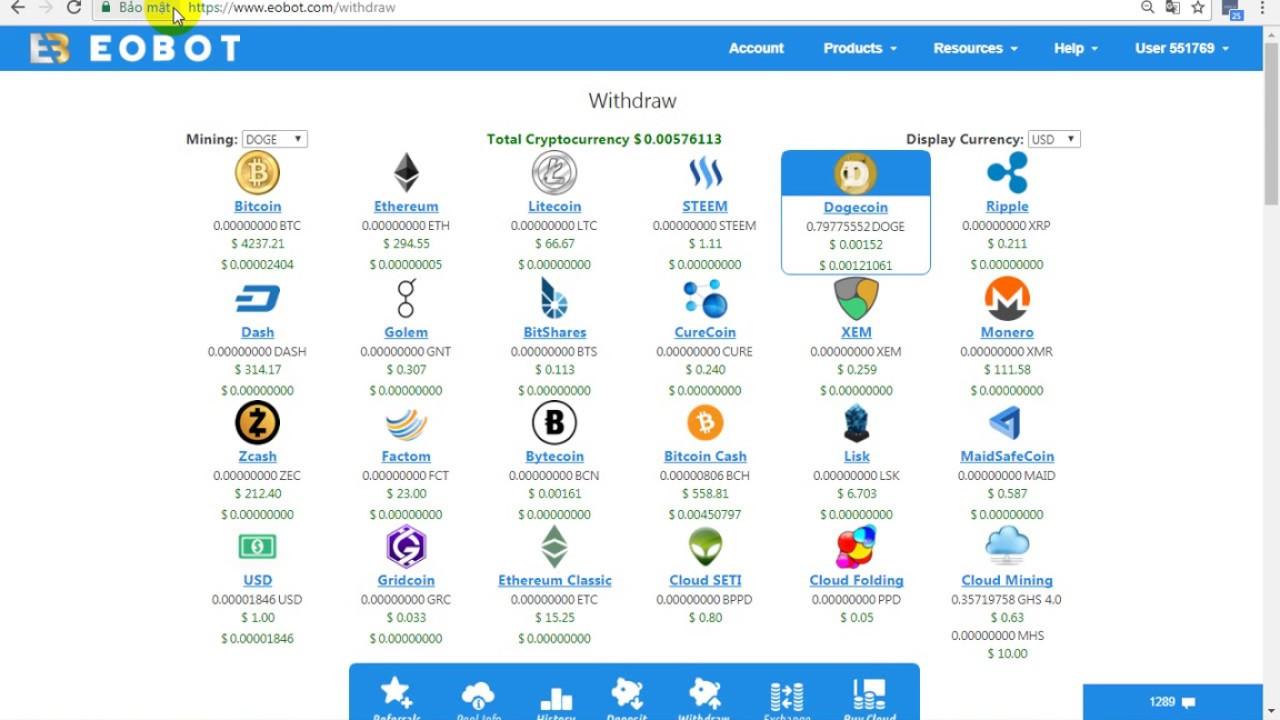 Download Rút 100 Doge Coin Từ Eobot.Com – Site Free Coin Uy Tín Nhất