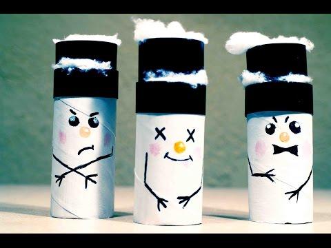 Новогодние игрушки своими руками. ✼ Снеговики из картона ✼