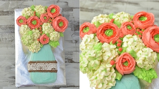 HYDRANGEA AND RANUCULUS BUTTERCREAM MASON JAR FLOWER CAKE, HANIELA