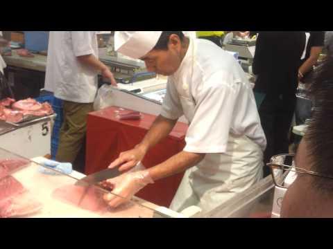 Tuna cutting demo at Isetan Orchard Supermarket 24-Mar-2013