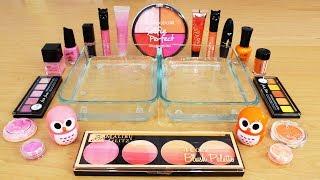 mixing makeup eyeshadow into slime pink vs orange special series part 38 satisfying slime video