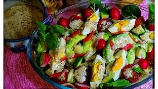 Avocado Salad with Yogurt Sesame DressingLuweehs Kitchen