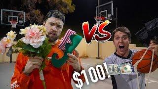 WEIRD ITEM BASKETBALL TRICK SHOT BATTLE *$100 To Winner!*