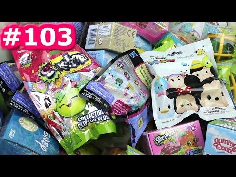 Random Blind Bag Box Episode #103 - Shopkins Clip-On Plush, Yummy World, Emoji, Jungle in my Pocket