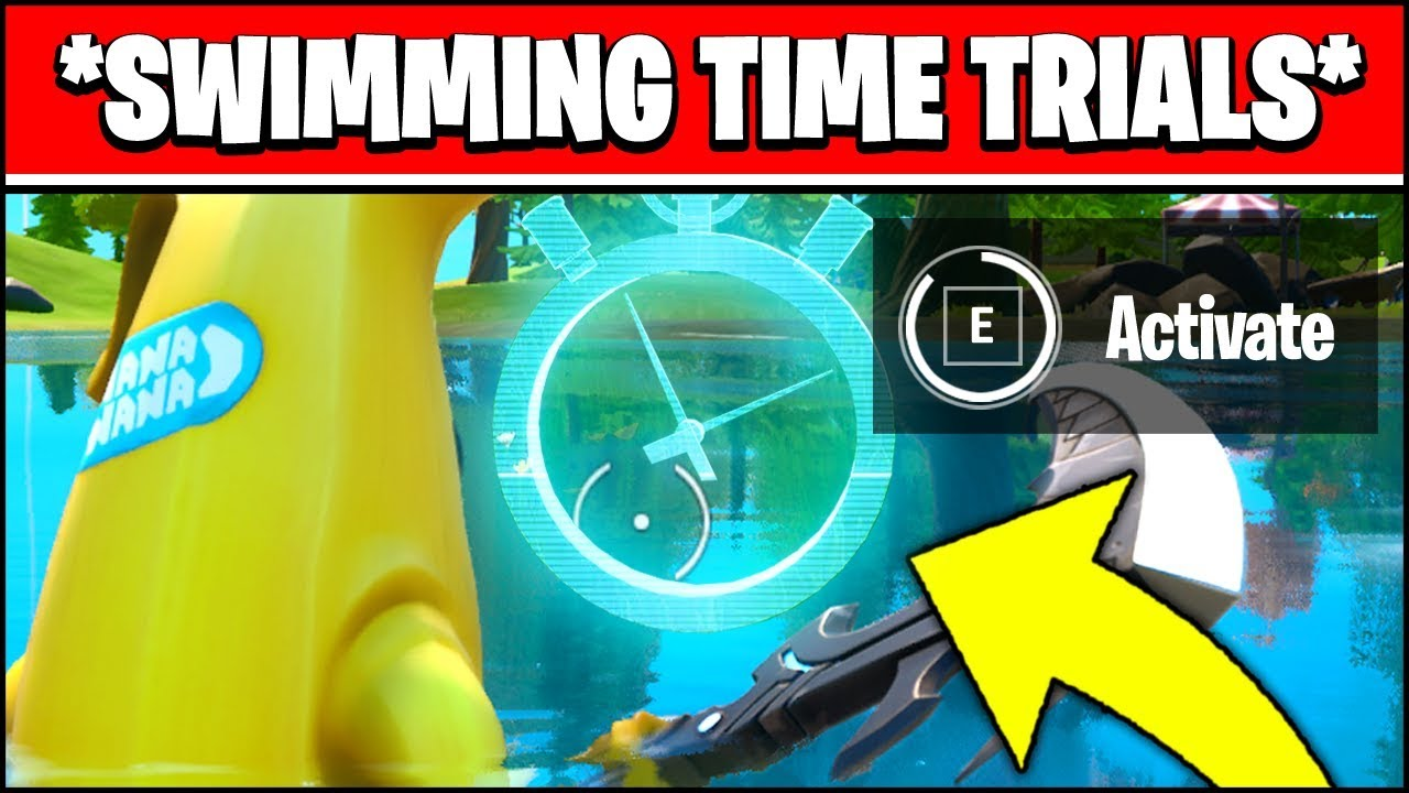 Complete The Swimming Time Trials At Lazy Lake And East Of Hydro 16 Locations Fortnite