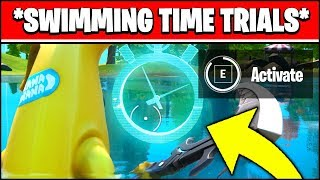 COMPLETE THE SWIMMING TIME TRIALS AT LAZY LAKE AND EAST OF HYDRO 16 LOCATIONS (Fortnite)