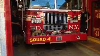 FDNY SQUAD 41 RESPONDING IS BEING BLOCKED BY A STUPID ASS ILLEGALLY PARKED MORON MOTORIST.