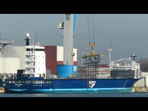 coaster ARCTIC ROCK PBUW IMO 9650901 discarging windcraft components in Emden KüMo