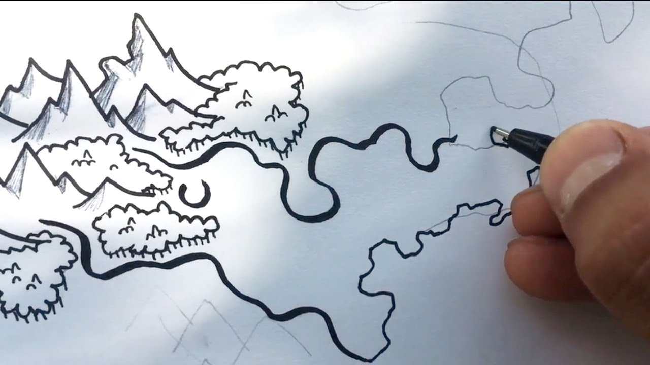 Fantasy Map Making | Step-by-Step (Mountain and Forest Variations) - YouTube