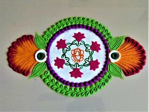 Super Easy And Quick Border Rangoli Designs Using Stencil| Creative Rangoli By Shital Mahajan