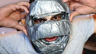 100 layers of duct tape on face