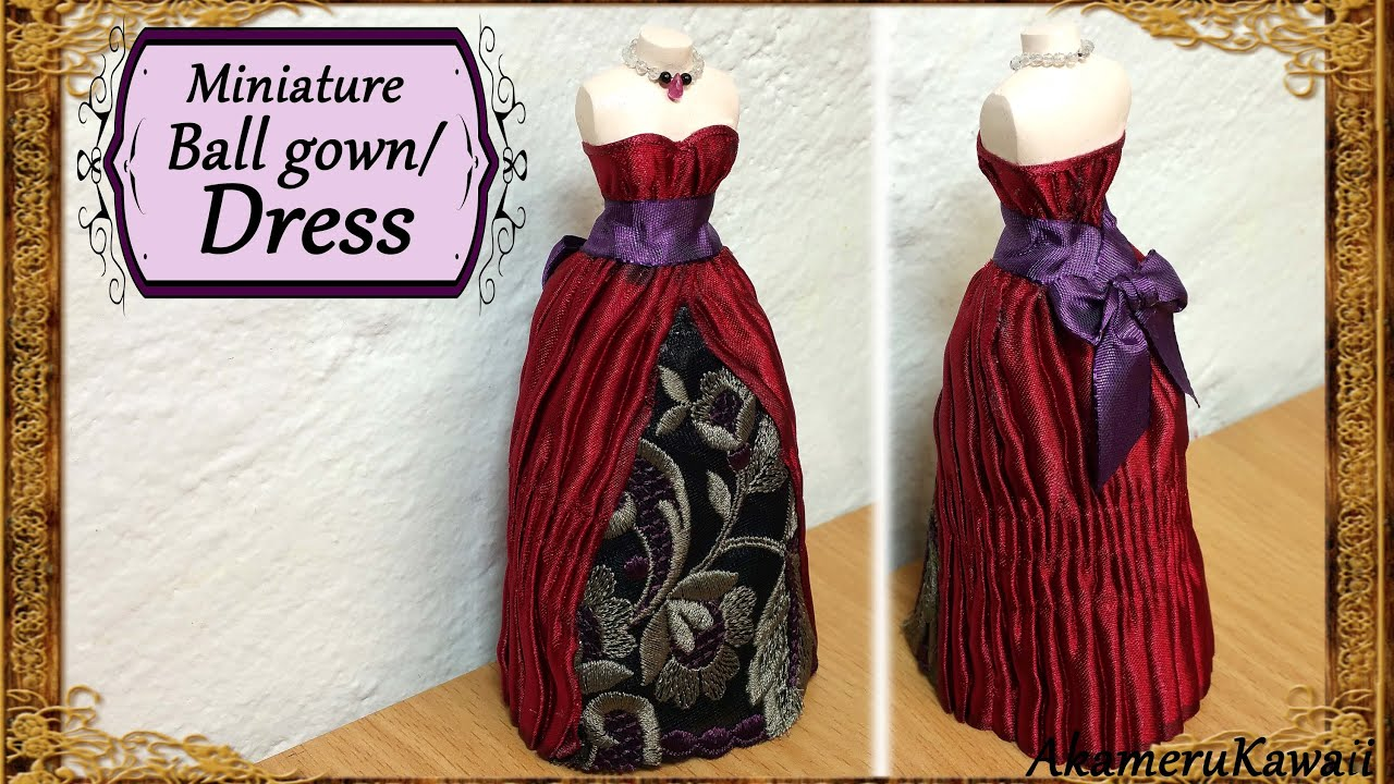 Miniature Doll Dress /Ball Gown - Fabric Tutorial - YouTube