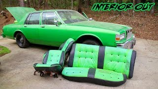 BIG RIM BOX CHEVY BUDGET BUILD EPISODE 28: OLD CUSTOM INTERIOR IS OUT!