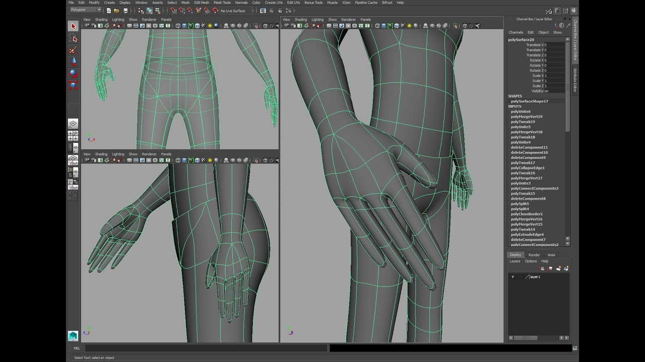 Maya Character Modeling Tutorial Part 2 Hands And Feet Youtube