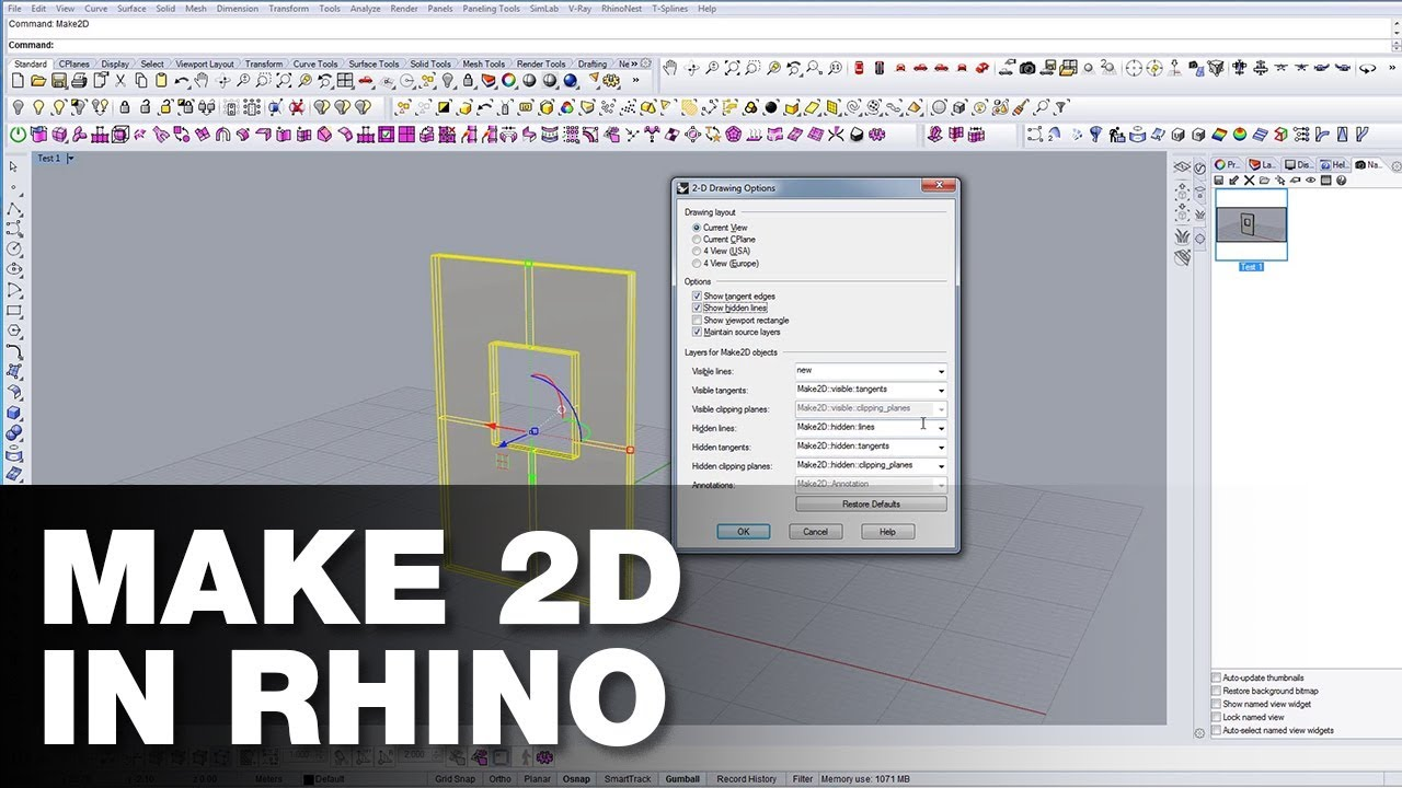 How to use Make 2D in Rhino
