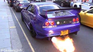 CRAZY Nissan GT-R's R33's [KREAM!] & R35's! FLAMES, REVVS, Accelerations!