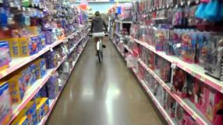 riding bikes in walmart, sorry for bad videotaping on my part