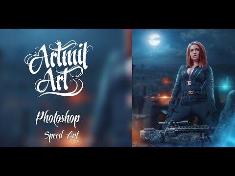 Photoshop Speed Art Black Widow 💀