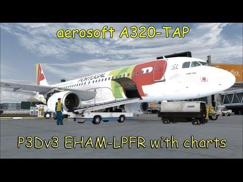 P3D EHAM-LPFR Aerosoft A320 Air Portugal. full flight