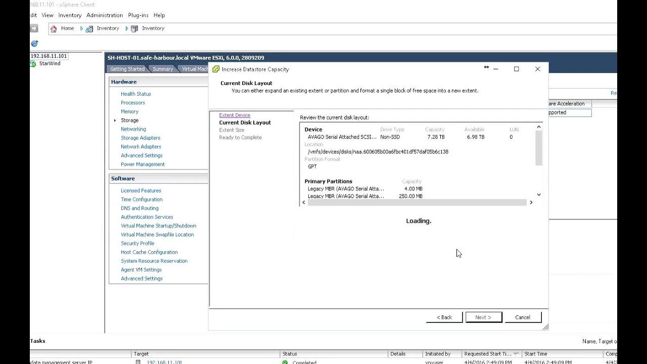 How to increase datastore size capacity in vSphere client for ESXi 6