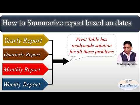 How to create Yearly Monthly Quarterly Weekly Report in Excel