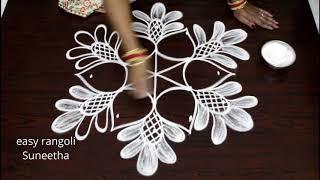 Simple flowers kolam with 5x3 interlaced dots drawn by easy rangoli Suneetha || Chukkala muggulu