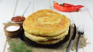 Катлама с сыром на сковороде видео рецепт Как приготовить спиральные лепешки с сыром