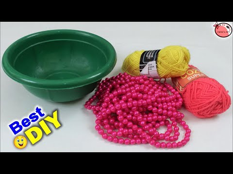 How To Make Jhumar Using Basket || DIY Wall Hanging Making || Handmade Things For Home Decoration