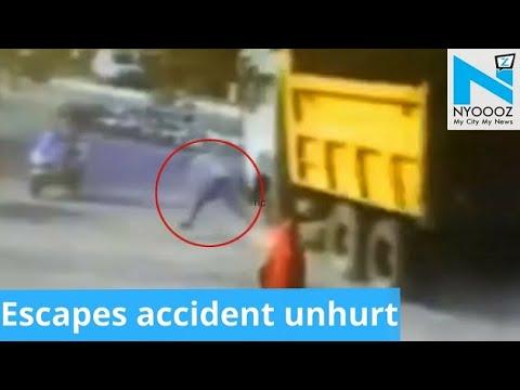 Gujarati Man hit by Speeding Truck walks away unhurt | NYOOOZ TV