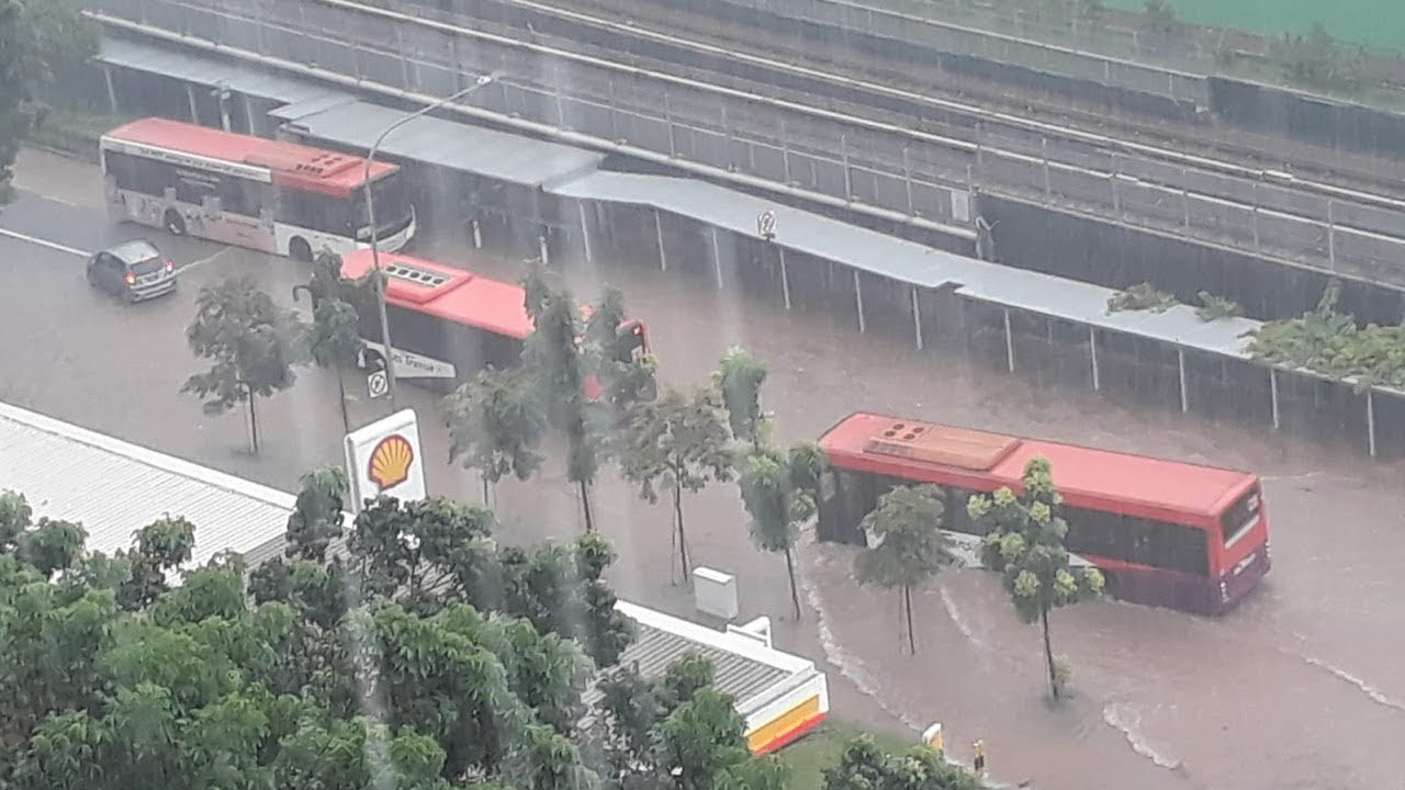 (SINGAPORE, June 2019) 3jun2019   heavy flooding or ponding all over the island.