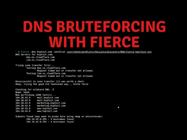 DNS Bruteforcing And Subdomain Enumeration With Fierce & Nmap