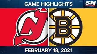NHL Game Highlights | Devils vs. Bruins - Feb. 18, 2021