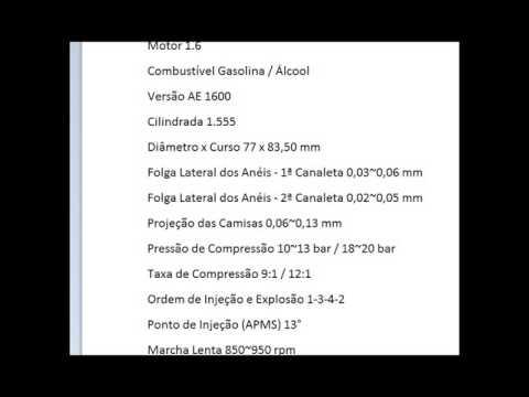 TABELA DE TORQUE MOTOR CHT 1.6 ALCOOL X GASOLINA COMPLETO