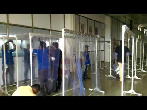 Industrial Curtains, Screens, PVC Strip Curtains, Welding area pvc strip curtains