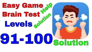 Easy Game Brain Test All Levels 91,92,93,94,95,96,97,98,99,100  Solution answers Walkthrough iOS