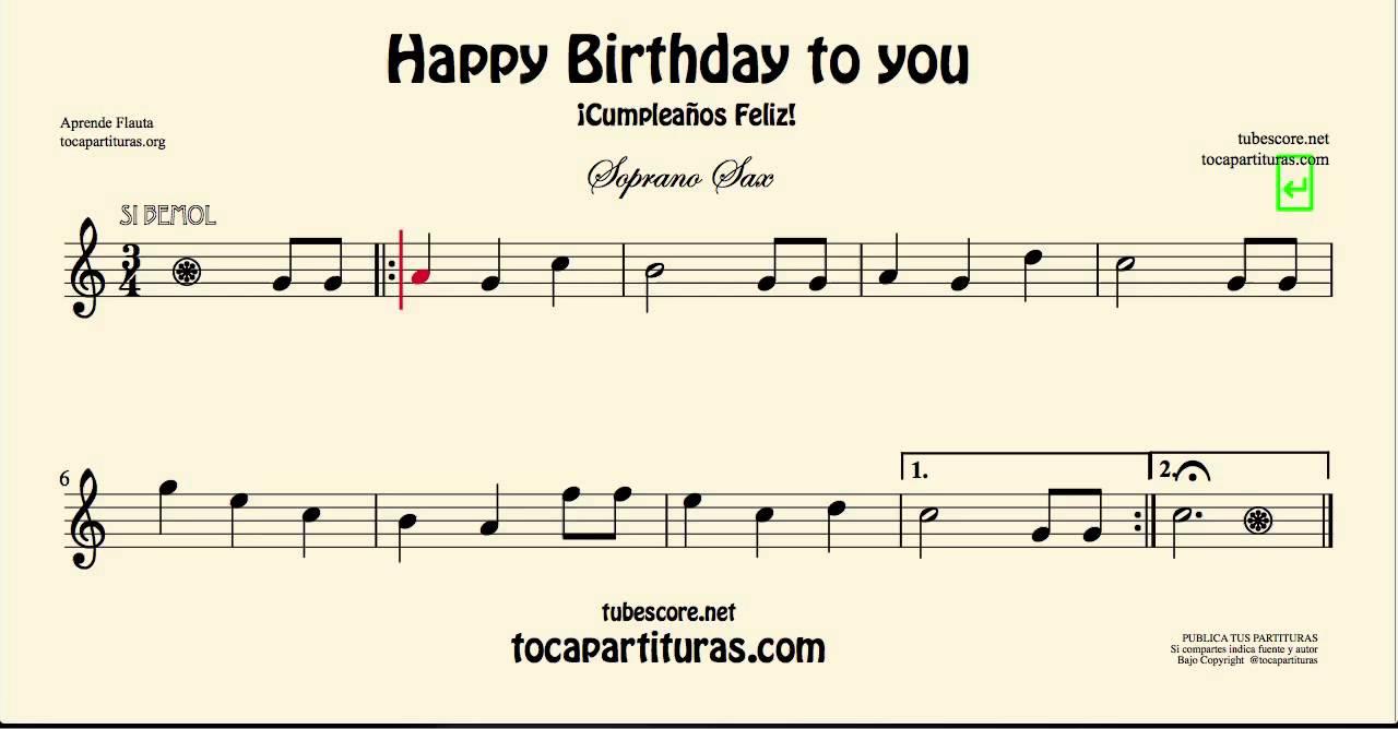 Happy Birthday Sheet Music For Soprano Saxophone Youtube