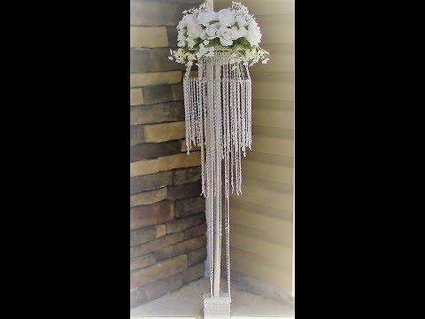 """DIY Dollar Tree """"Floral Chandelier Aisle Pedestal"""" DIY Wedding Series Week 6"""