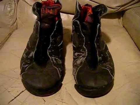 Nike Air Jordan 7 VII Original Black/Red 1992 used worn trashed condition  size 10.5, video for ebay