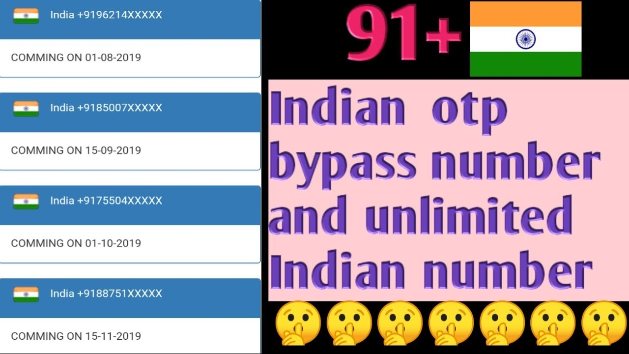 #Freeindian number#Unlimited Indian number ➕OTP bypass, how to OTP bypass  with indian number,