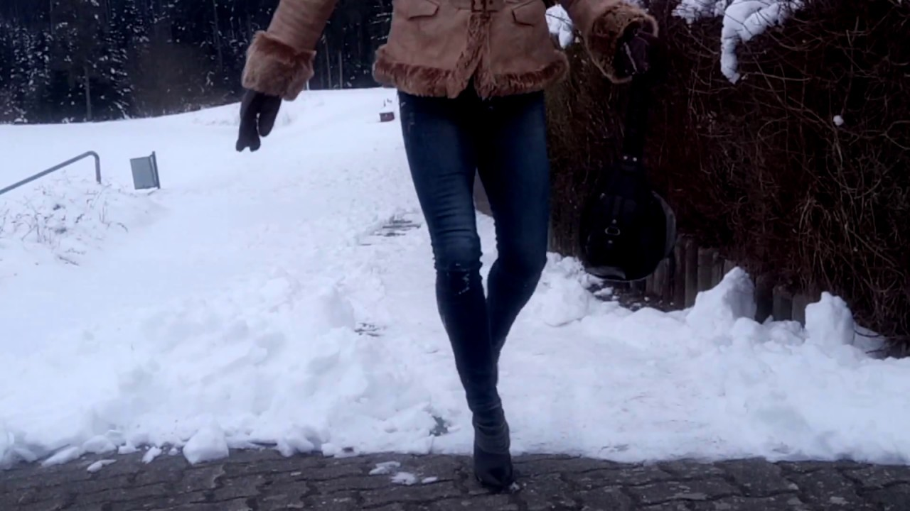 high heels walking in snow, slipping on ice and snow ( scene