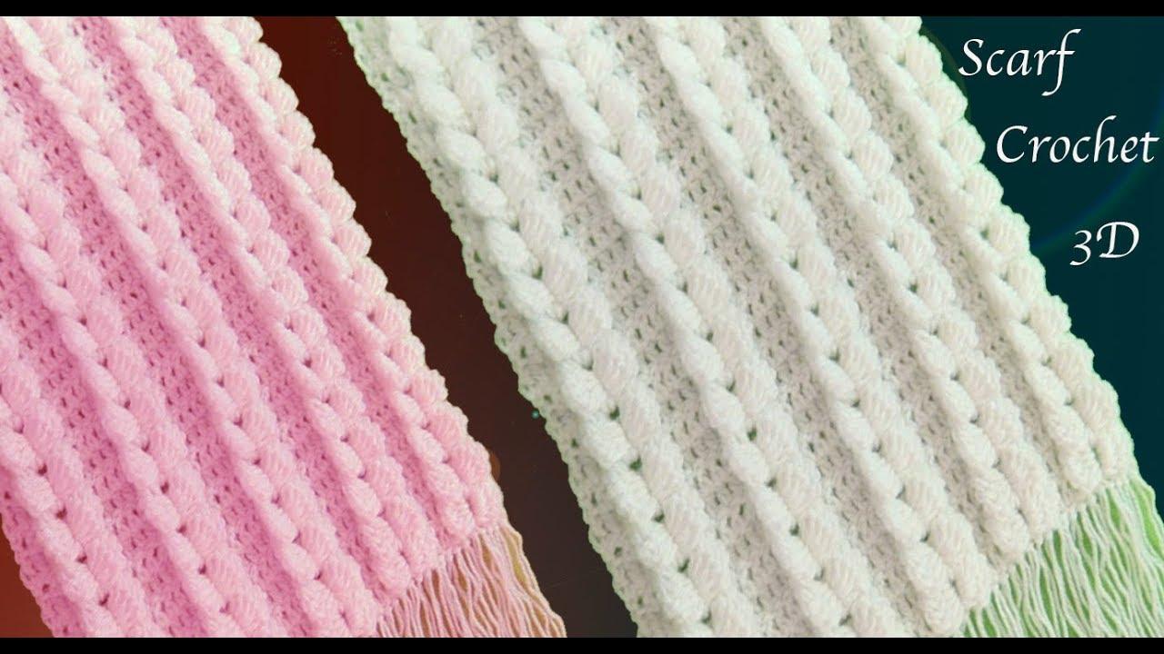 Bufandas tejidas a crochet punto trenzas verticales en 3D tejido ...