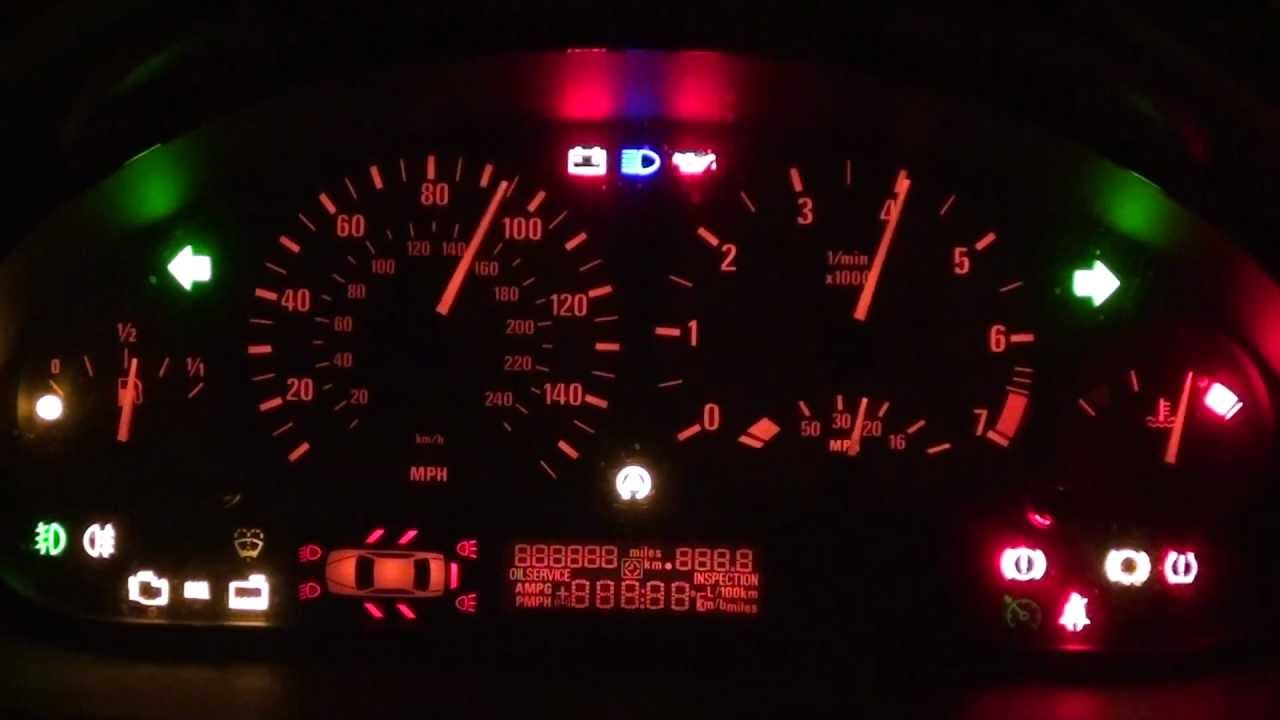 bmw e46 dash light up trick shows all warning lights symbols youtube [ 1280 x 720 Pixel ]