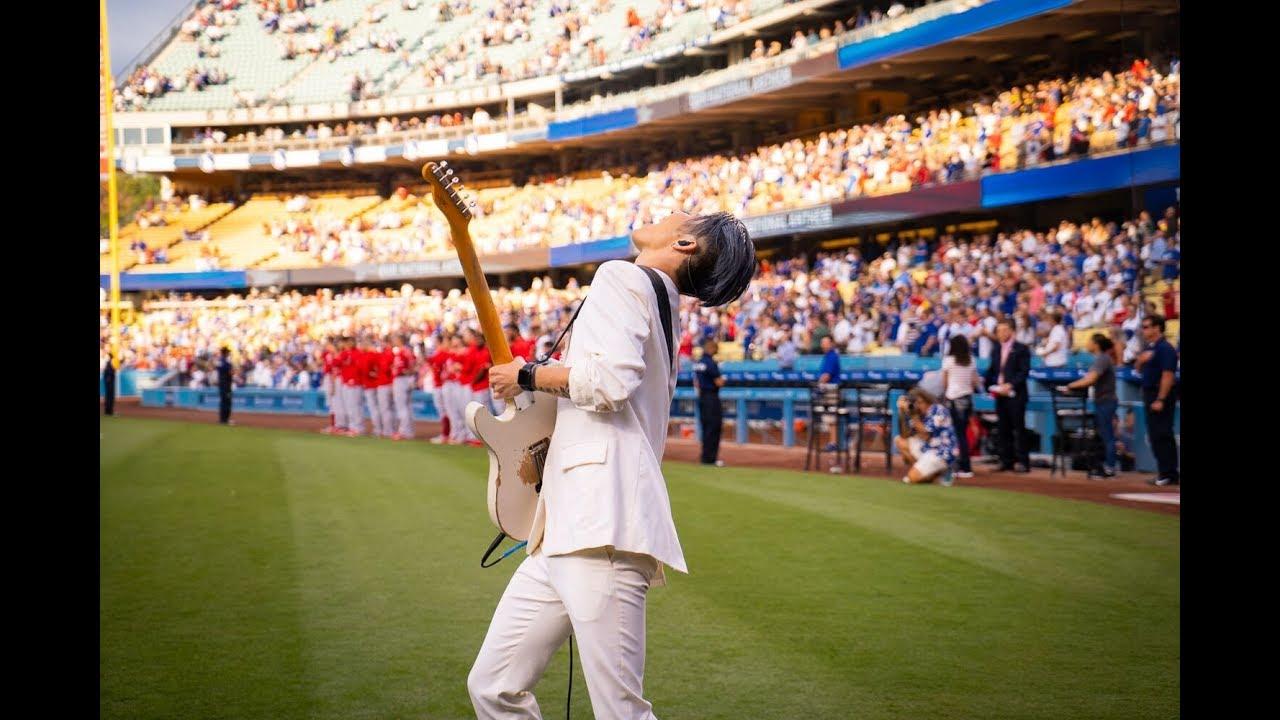 Miyavi Performs The U S National Anthem At Dodger Stadium