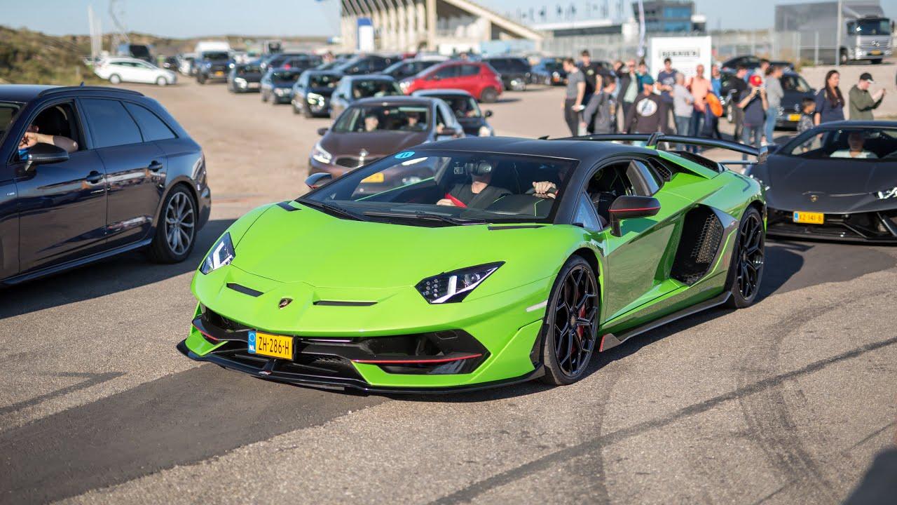 Download Supercars Leaving a Car Show - Novitec F12, Vantage GT12, ABT R8 V10, Capristo Aventador, iPE GT3 RS